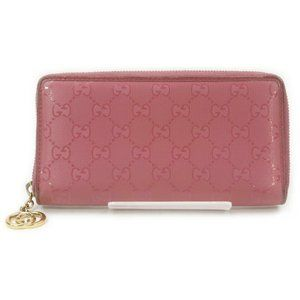 Auth Gucci Zippy Wallet Pink Leather #12294G10